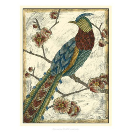 Evive Designs Embroidered Pheasant I by Chariklia Zarris Painting Print