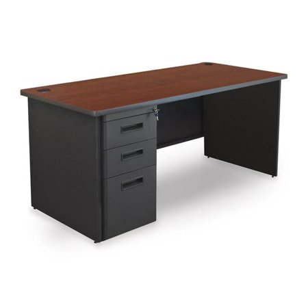 - Pronto PDR6030SP-B-DT-MADN 60 W x 30 D Single Full Pedestal Desk, Mahogany Laminate & Dark Neutral Finish