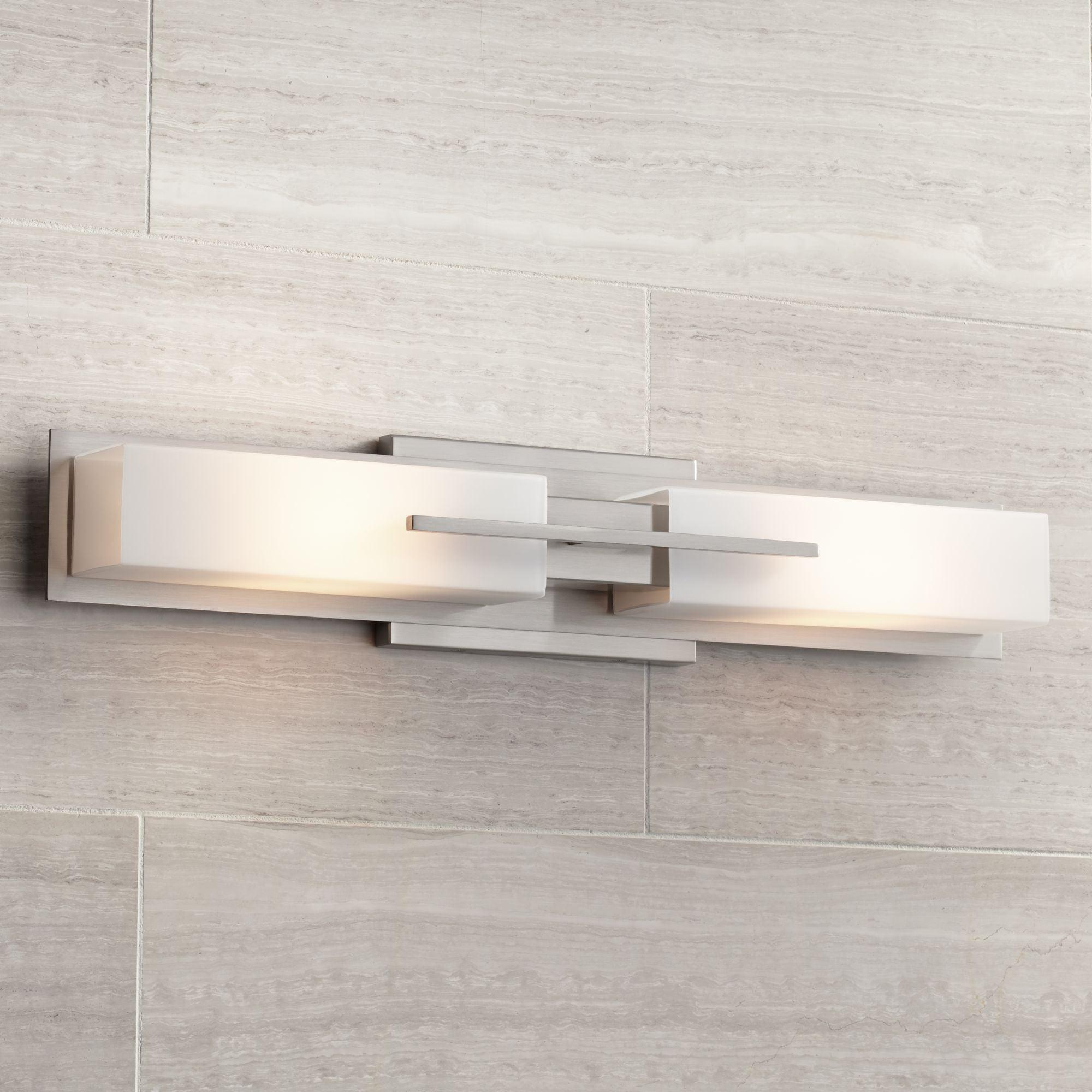 Possini Euro Design Modern Wall Light, Bathroom Lights Over Mirror Brushed Nickel