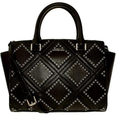 Selma Medium Diamond Grommet Leather Satchel - Black -