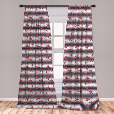 Starfish Curtains 2 Panels Set, Classical Striped Backdrop with Red Colored Sea Stars Maritime Themed Pattern, Window Drapes for Living Room Bedroom, Navy White Red, by Ambesonne ()