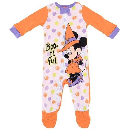 Disney Baby Girls Minnie Mouse Orange Footed Pajamas