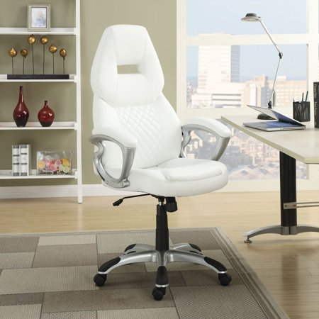 Leather Pillow Top Seat Swivel (Coaster Bucket Set Office Seat Leather Swivel Chair )