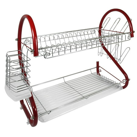 Better Chef 2-Tier 16 in. Chrome Plated Dish Rack in Red ()