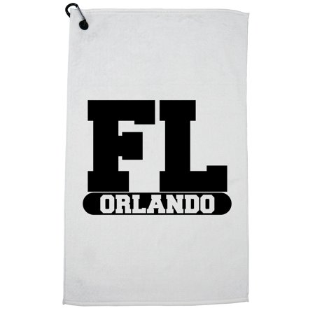 Orlando, Florida FL Classic City State Sign Golf Towel with Carabiner
