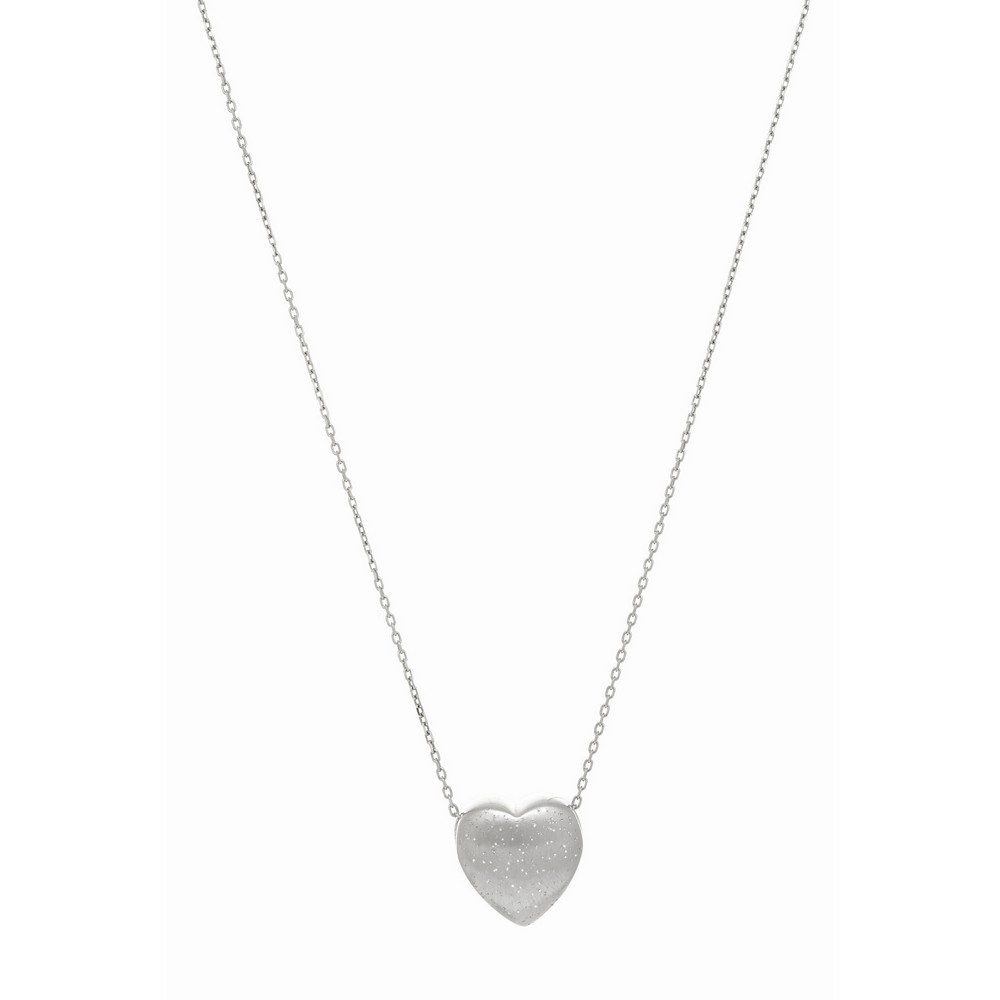Rhodium Heart Diamond Dust Silver Rhodium Finish 1.1mm Diam-cut Cable Chain Necklace - 18 Inch