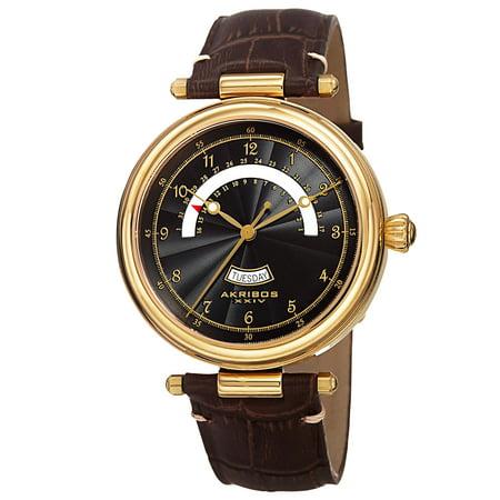 - Men's Quartz Retrograde Date Leather Gold-Tone Strap Watch