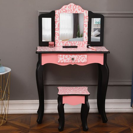 Girls Vanity Set,Trifold Vanity Table Kids Dresser Princess Makeup Dressing Table Girls Vanity Table and Stool Set with Two 180° Folding Mirrors & Drawer for Girls Bedroom Furniture Decor,Pink Leopard