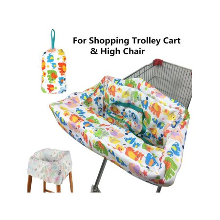 Portable Toddler Baby Kids Shopping Trolley Cart Seat Pad & High Chair Cover
