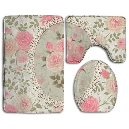 Chaplle Pink Roses Flower Floral 3 Piece Bathroom Rugs Set