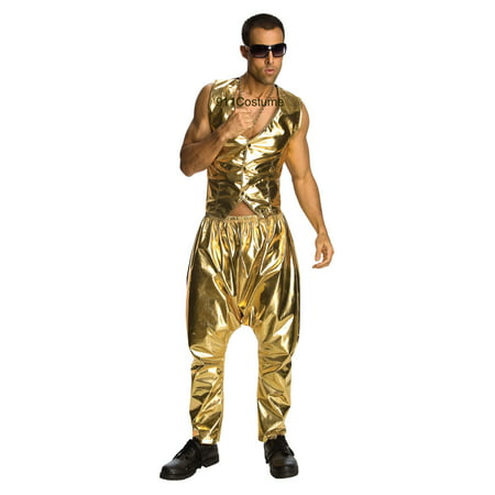 Parachute Pants Gold Lame MC Hammer Old School Adult Unisex Costume (Unisex Costumes)