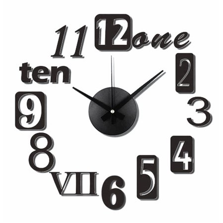 Modern Home Self Adhesive DIY 3D Wall Clock - Silo (Diy Clock)