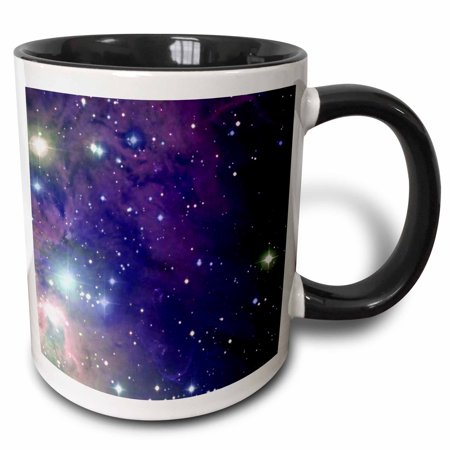 Sci Fi Geek Mug - 3dRose Cool outer space stars and planets dark blue design - science fiction sci-fi geek astronomy nerd, Two Tone Black Mug, 11oz