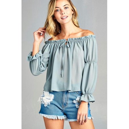9d1fb990f8274 MARCELLE MARGAUX - Women s Puff Long Sleeve Ruffled Front Tie Off Shoulder  Top - Walmart.com