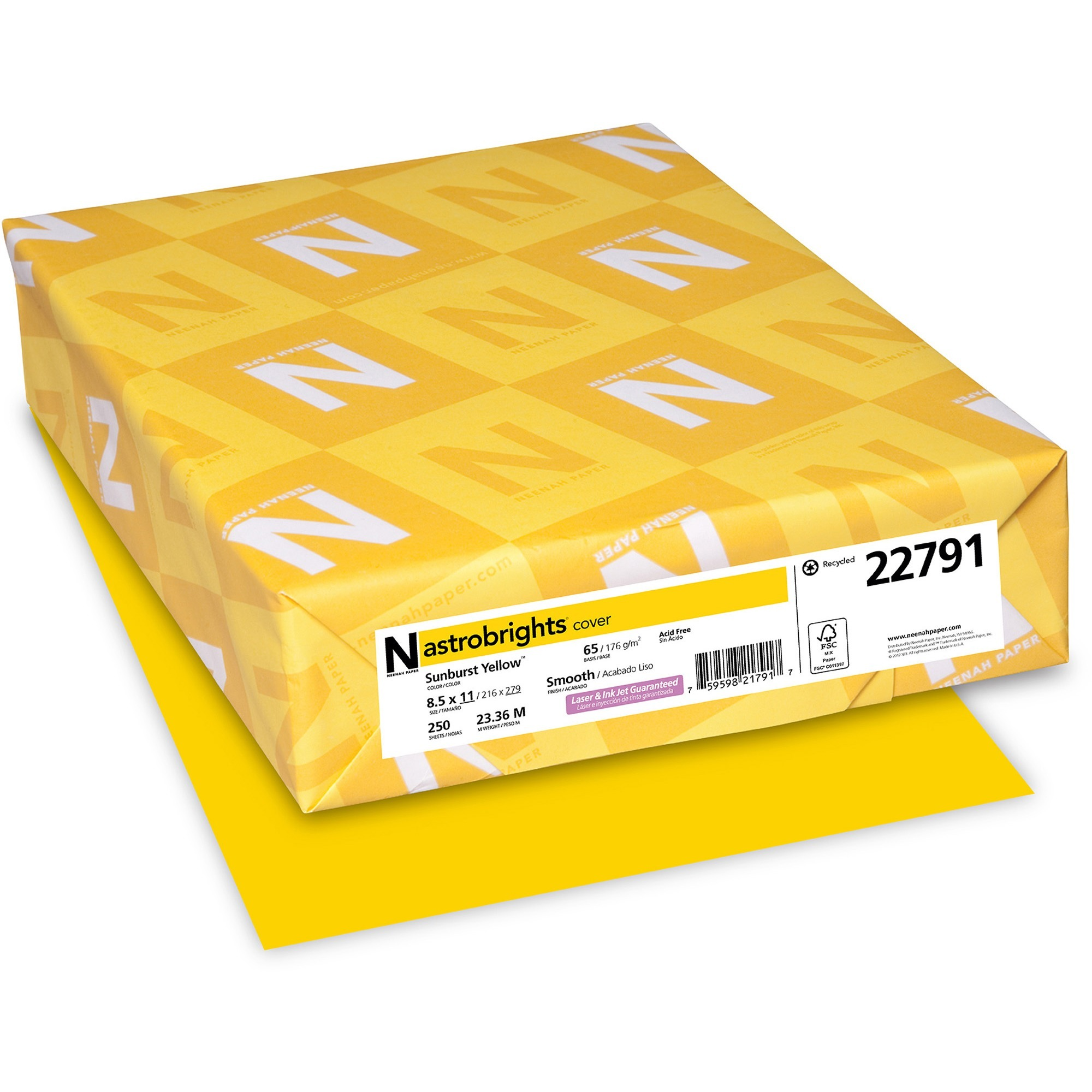 Astrobrights, WAU22791, Colored Cardstock, 250 / Pack, Sunburst Yellow