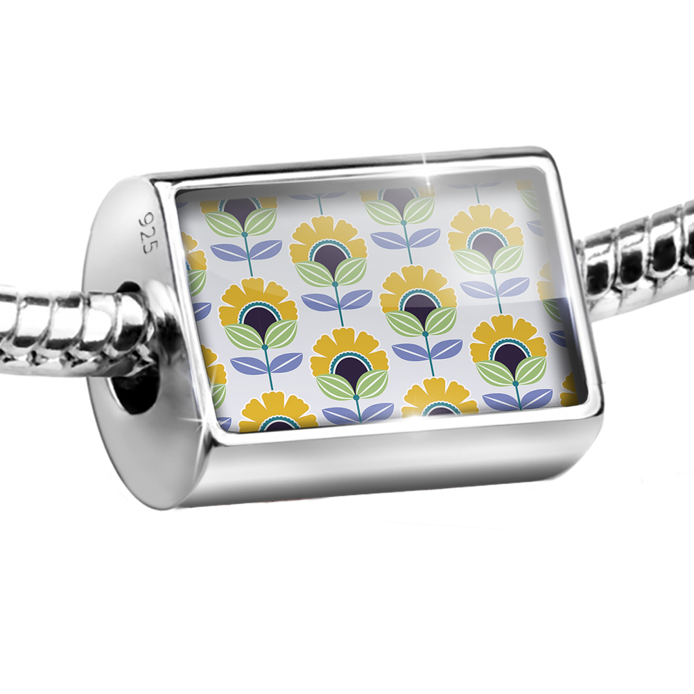 Bead Pattern Yellow Retro Flowers Large Charm Fits All European Bracelets