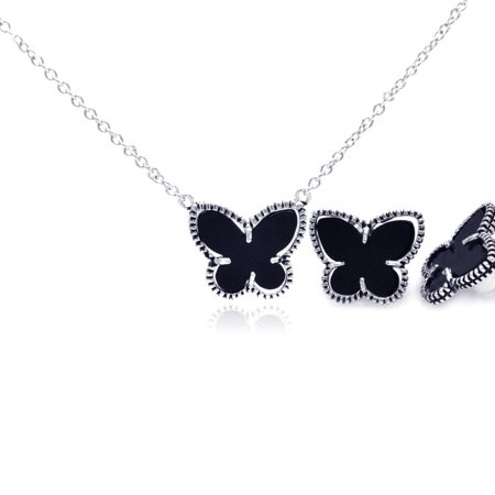 (Exquisite Sterling Silver Rhodium Plated Black Onyx Mini Butterfly Stud Earring Necklace Set)