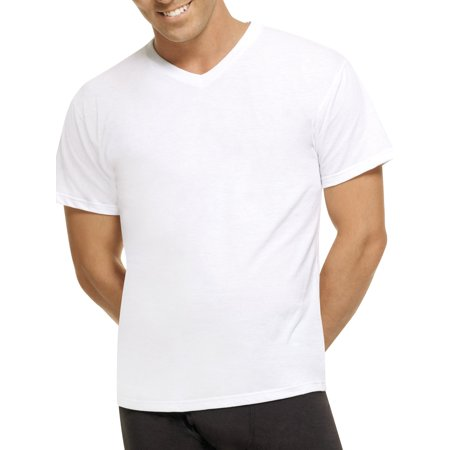 Plain White V-neck - Hanes Mens ComfortBlend White V-Neck T-Shirts, 5 Pack