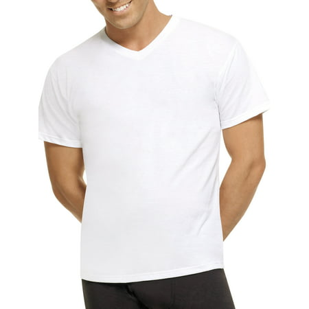 Mens ComfortBlend White V-Neck T-Shirts, 5 Pack Long John Pjs