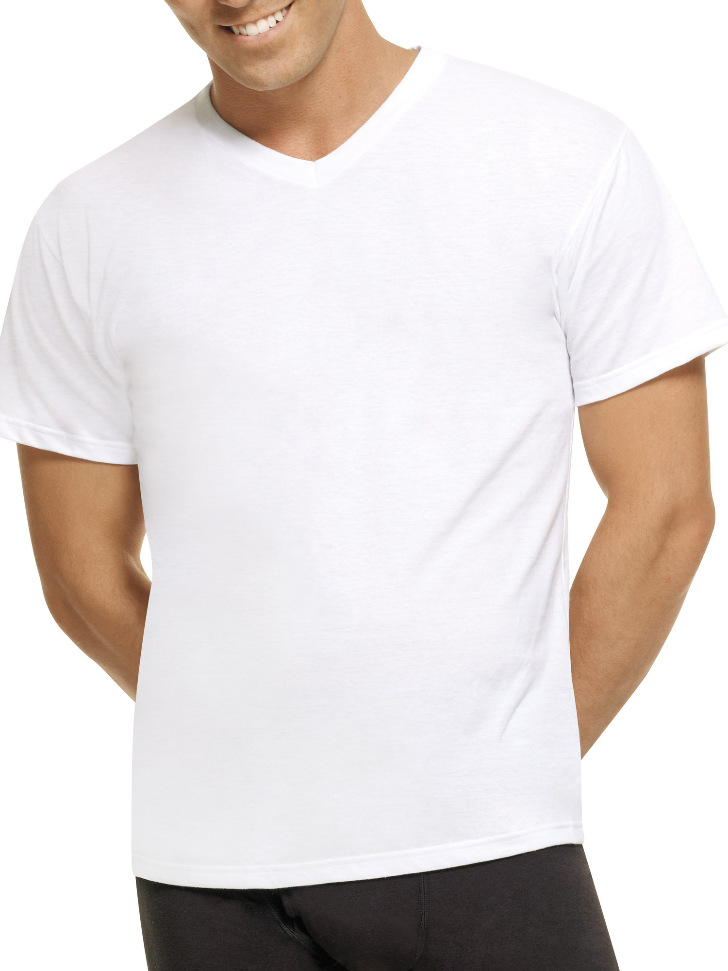 Mens ComfortBlend White V-Neck T-Shirts, 5 Pack