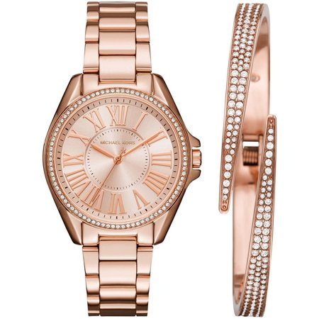 Michael Kors Women S Kacie Crystallized Rose Gold Watch Set Mk3569