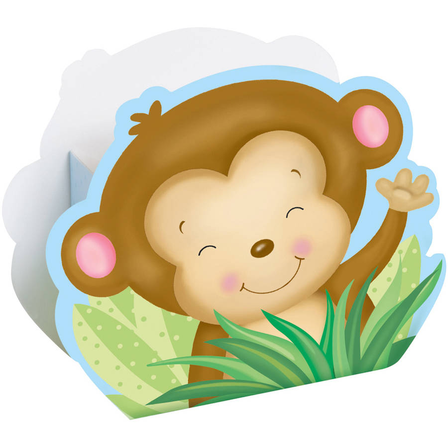 Blue Monkey Baby Shower Favor Boxes, 8-Count