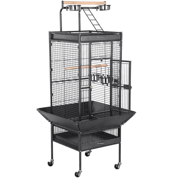 61'' Parrot Cage Rolling Metal Bird Cage Cockatiel Lovebird w Play Top Black by Yaheetech
