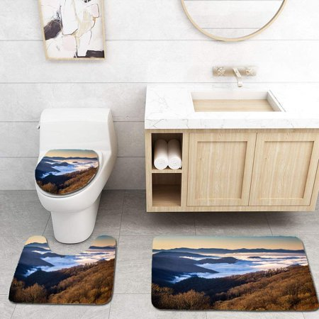 EREHome Great Smoky Mountains National Park from Newfound Gap Road 3 Piece Bathroom Rugs Set Bath Rug Contour Mat and Toilet Lid Cover - image 2 of 2