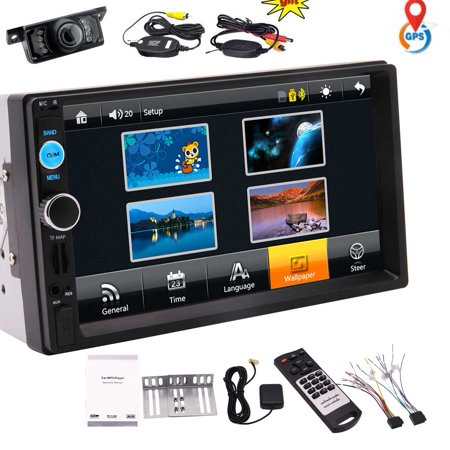 Eincar 7-inch in Dash Double DIN Car Player Auto Audio Stereo Capacitive Touch Screen with 8GB GPS Navigation Map Card Bluetooth Music video from USB/SD FM Radio for Universal Remote control