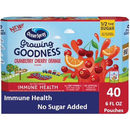 (40 Pouches) Ocean Spray GROWING GOODNESS™ Juice Beverage, Cranberry Cherry Orange, Immune Health, 6 fl oz