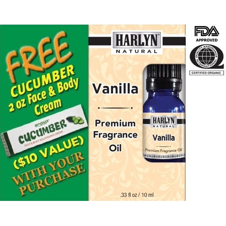 Best Vanilla Fragrance Oil 10 mL - Top Scented Perfume Oil - Premium Grade - by Harlyn - Includes FREE Cucumber Face & Body Nourishing