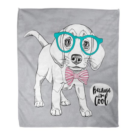 LADDKE 58x80 inch Super Soft Throw Blanket Dog Puppy Beagle in Glasses Bow Tie Cute Adorable Beautiful Black Breed Home Decorative Flannel Velvet Plush Blanket (Beautiful Decorative Glass)