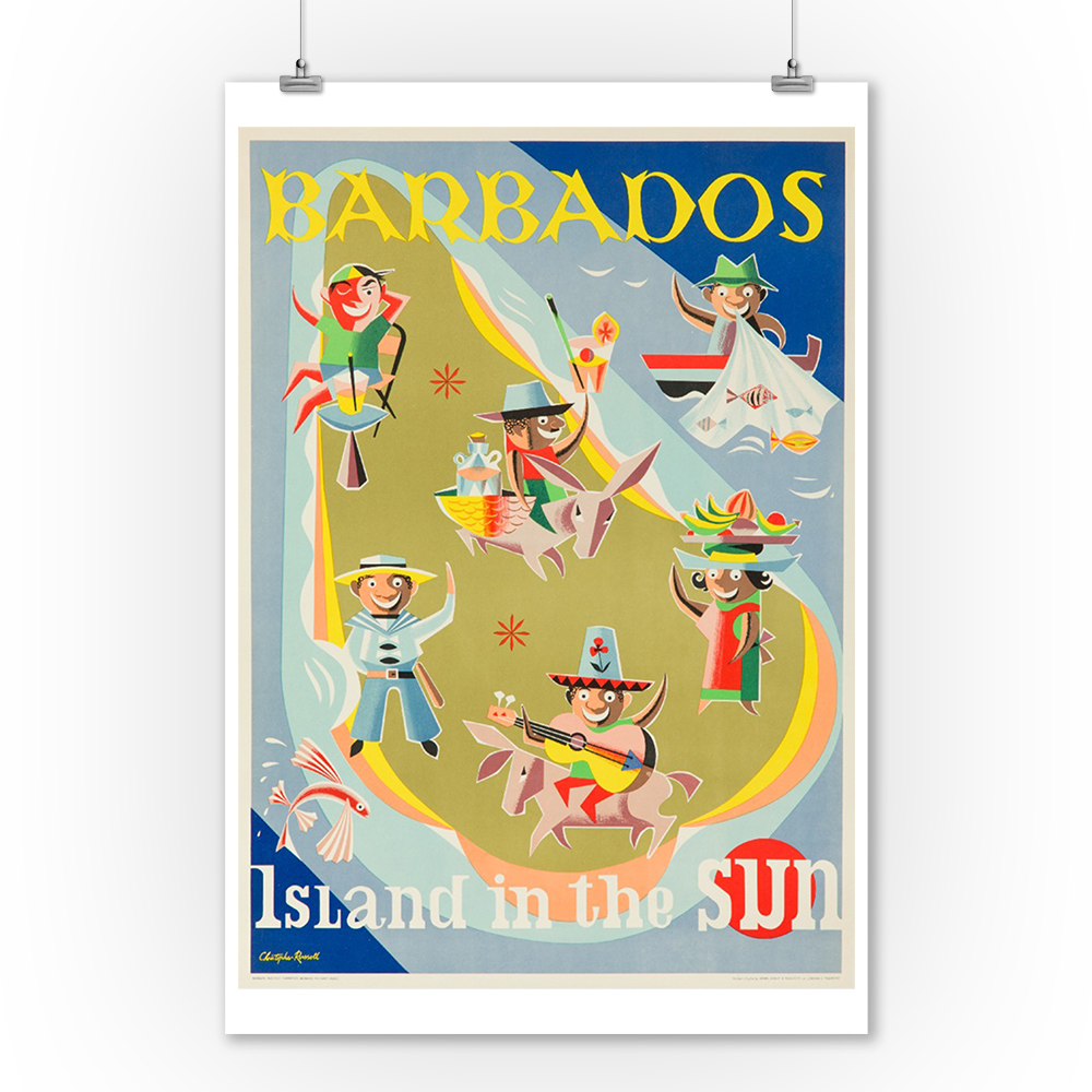 Barbados Vintage Poster (artist: Russell) England c. 1956 (9x12 Art Print, Wall Decor Travel Poster)