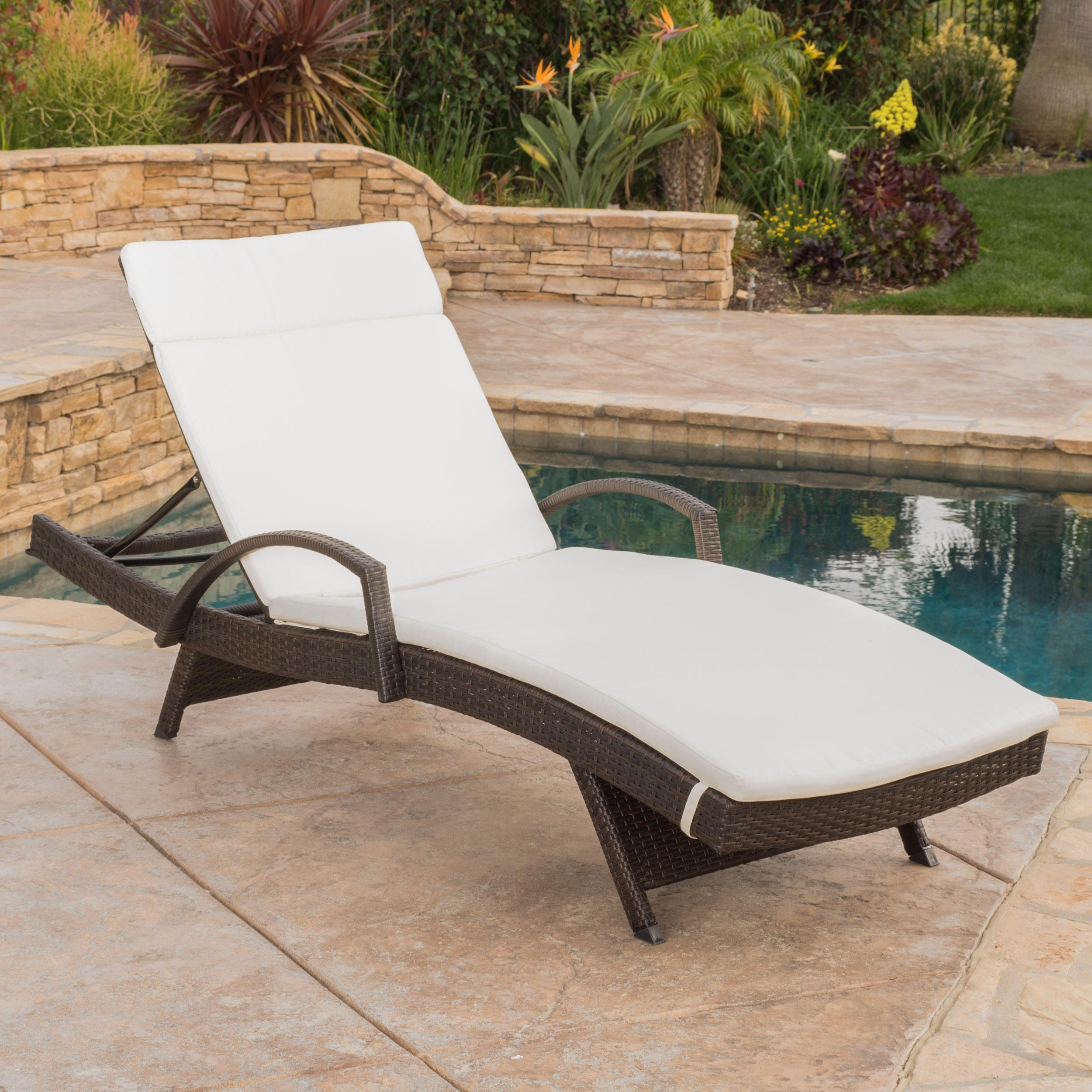 Brookside Outdoor Wicker Adjustable Chaise Lounge with Arms w/ IVORY Cushion