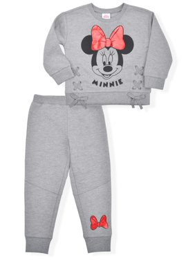 Minnie Mouse Baby Girls & Toddler Girls Fleece Sweatshirt & Sweatpants, 2 Piece Outfit Set (12M-5T)