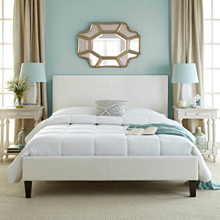 Premier Zurich Faux Leather Twin White Upholstered Platform Bed ...