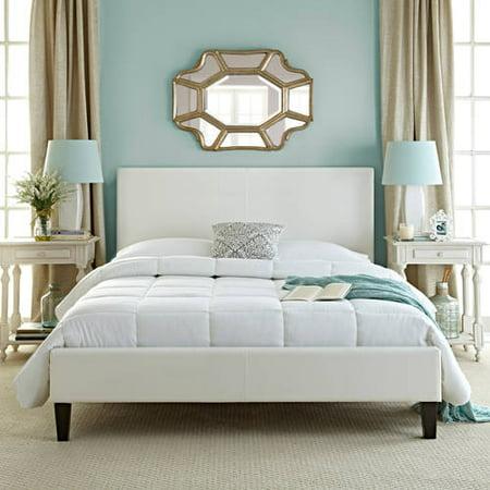 Premier Faux Leather Twin White Upholstered Platform Bed Frame