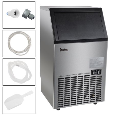 Zimtown Commercial Ice Maker Automatic Built-In Stainless Steel Under counter/Freestanding/Portable Ice Machine for Restaurant Bar, 33lbs Storage Capacity, 100lbs/24h, 5 Accessories (18 Automatic Ice Maker)