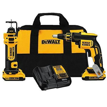 DEWALT DCK263D2 20V MAX XR Li-Ion Cordless Drywall Screwgun and Cut-out Tool Kit