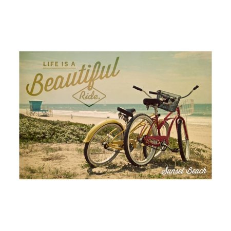 Ride Print Jersey - Sunset Beach, New Jersey - Life is a Beautiful Ride - Beach Cruisers Print Wall Art By Lantern Press