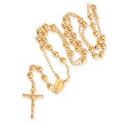 Prayer Rosario Crucifijo Ball Beads Catholic Virgin Mary Rosary Necklace For Women or Teen 18K Gold Plated Brass