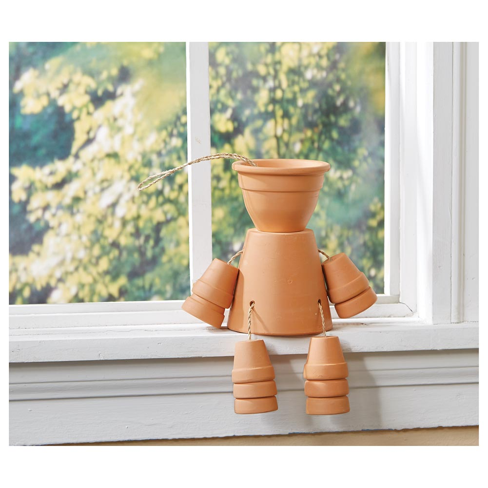 Terra Cotta Clay Flower Pot Man - Garden Shelf Planter