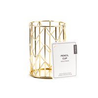 U Brands Pencil Cup, Desktop Accessories, 3.12 x 4.12 x 3.12 inches, Wire Metal, Gold Finish, 1 Count