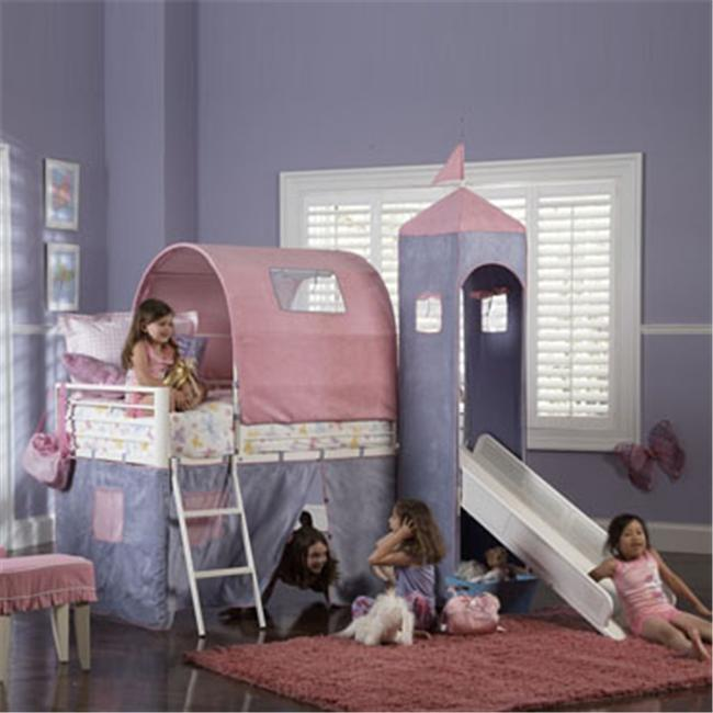 Princess Castle Twin Size Tent Bunk Bed With Slide White Powder