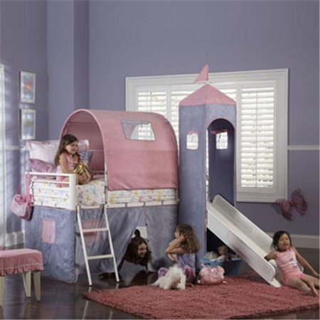 Princess Castle Twin Size Tent Bunk Bed with Slide- White powder coat with Purple & Pink