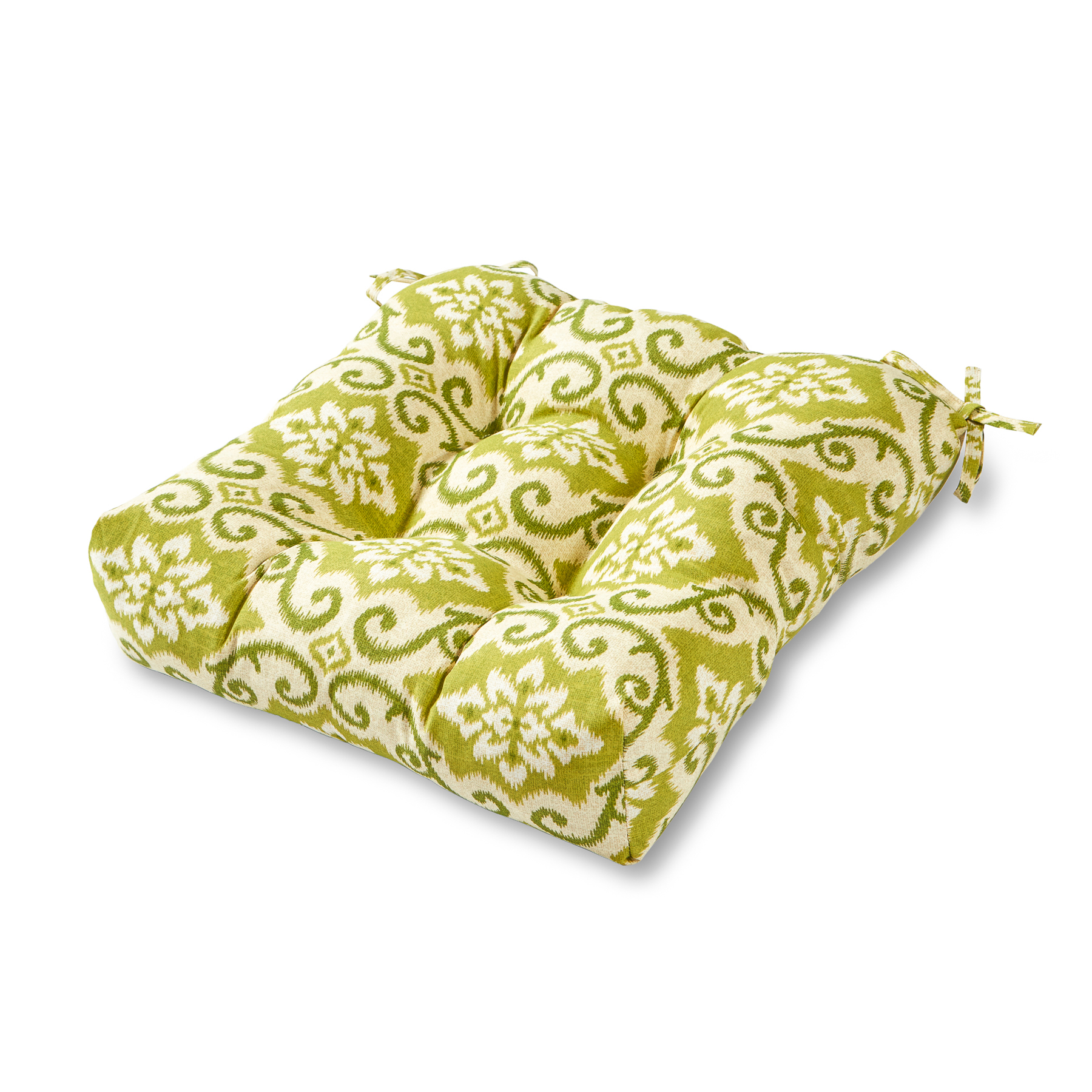Green Ikat 20 in. Square Plush Outdoor Chair Cushion