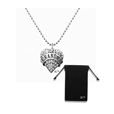 EC(tm) Greatest Grandma Charm Silver Necklace & Mothers Day Gift Idea & Velvet Drawstring Jewelry Bag - 2 Pk COMBO - Crystal Engraved Necklace & Pendant Bead Chain Grandma Gifts (1 Necklace w/1 Pouch) Crystal Glass Bead Necklace
