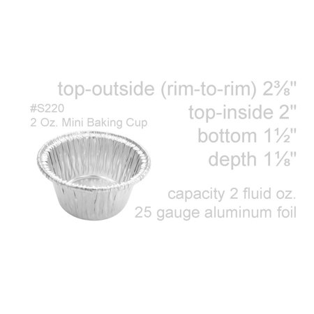 KitchenDance 2 Ounce Disposable Aluminum Foil Cup - #S220 2 Ounce Travel Tin