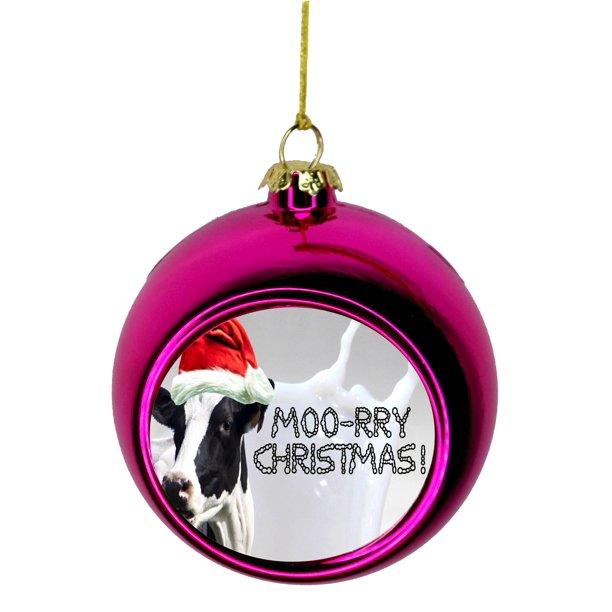 Ornaments Funny Cow In A Santa Claus Hat Moory Christmas Bauble Christmas Ornaments Pink Bauble Tree Xmas Balls Walmart Com Walmart Com