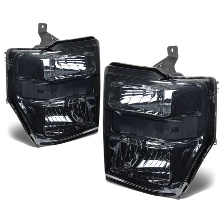 For 2008 to 2010 Ford F250 / F350 / F450 / F550 Super Duty OE Style Headlight Assembly Smoked Housing Clear Side - 2 Gen 09 Left+Right